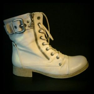 Guess Combat Boots Lace Up With Buckle